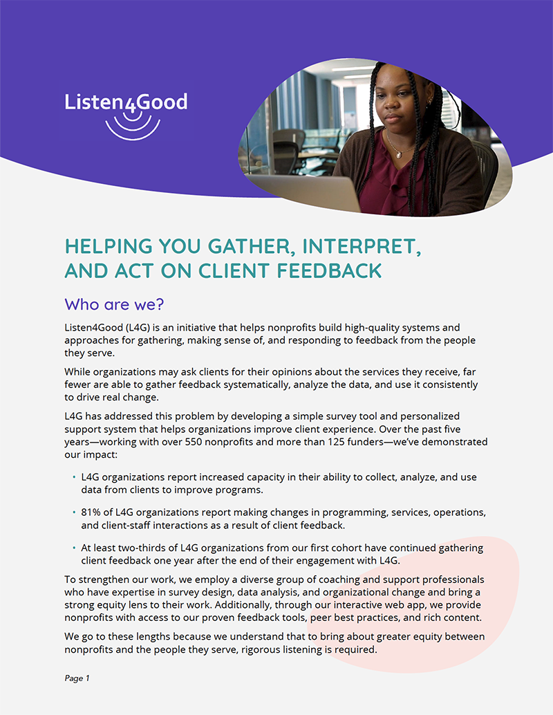 Listen4Good overview brochure cover
